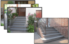 treppen und podeste aus granit und naturstein im au enbereich von eing ngen. Black Bedroom Furniture Sets. Home Design Ideas