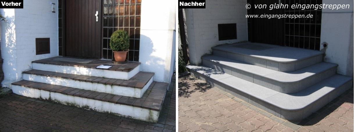 hauseingang au en mit granit und naturstein neu gestaltet. Black Bedroom Furniture Sets. Home Design Ideas