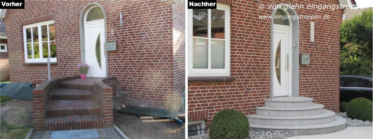 Hauseingangstreppe Mit Granit Neu Gestalten, Neumünster, Norddeutschland
